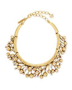Y2Q1F Oscar de la Renta Ball & Crystal Necklace