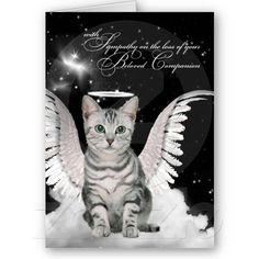 Pet Sympathy Loss of a Cat Tabby Angel Greeting Cards