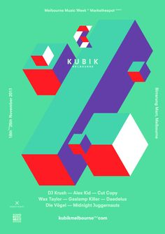 KUBIK, by Simon Bent for Qube Konstrukt, modular logo, visual identity, ID, logo, print media, poster
