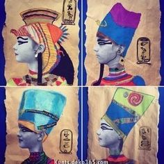 grade Ancient Egypt] For our Egyptian Art topic year 5 created Egyptian Pharaoh mixed media self portraits. Programme D'art, Club D'art, Classe D'art, Pop Art, 6th Grade Art, Art Antique, Art Lessons Elementary, Elementary Teaching, Art Education Lessons