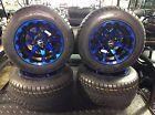 Golf Cart Wheel And Tire Combo Fits Club Car E-Z-GO Carts Set Of 4 Blue Black