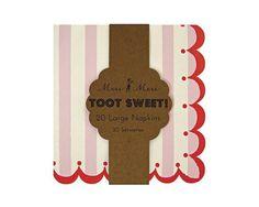 Toot Sweet Pink Stripe Large Paper Napkins, 20 pcs