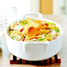 This classic Tuna Noodle Casserole features a crunchy potato chip topper, white albacore tuna, and roasted red peppers. Get more from Better Homes and Gardens: http://www.bhg.com/recipes/from-better-homes-and-gardens/may-2008-recipe-collection #myplate