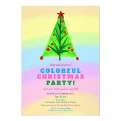 Rainbow Typography Colorful Tree Christmas Party Invitation   dinner invitation design, colorful invitations, hand made wedding invitations #invitationshop #invitationph #invitationv, 4th of july party Bachlorette Invitations, Making Wedding Invitations, Christmas Party Invitations, Invitation Design, Custom Invitations, Rainbow Theme, Colorful Trees, 4th Of July Party, Festival Party