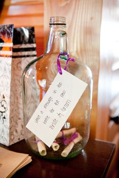 message in a bottle wedding guest book alternative. Leave a message to be read 5/10 + years time?