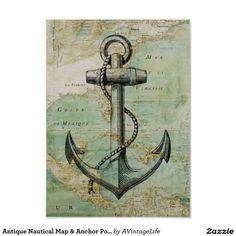Poster náutico antigo do mapa & da âncora