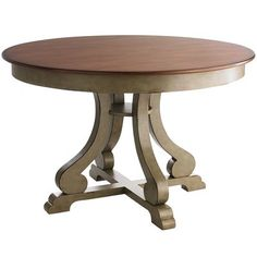 Marchella Dining Table - Sage & Brown Can't have the new chairs without the table! This would fit perfectly in my little dining area. Round Dining Table, Dining Room Table, A Table, Dining Chairs, Chess Table, Rattan Chairs, Rustic Table, Table Legs, Painted Furniture
