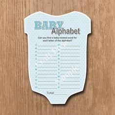 Baby Alphabet Game  Blue Vest  Instant PDF by TheCraftPixie
