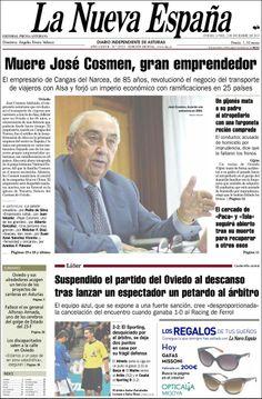 Los Titulares y Portadas de Noticias Destacadas Españolas del 2 de Diciembre de 2013 del Diario La Nueva España ¿Que le pareció esta Portada de este Diario Español?