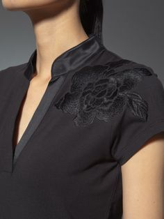 Silk cotton floral embroidery top with satin trim