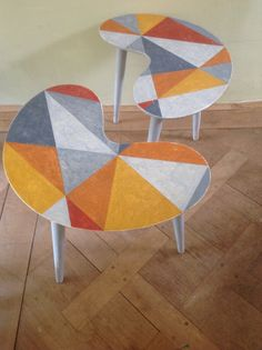 Rare and hip pair of vintage 1960s kidney tables, small size. Handpainted in acrylic. Price £500 plus carriage