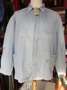 """Vintage French cotton twill denim chore jacket workwear light blue bleu de travail cinch back 47"""" chest factory (4) by TheDustbowlVintage on Etsy"""