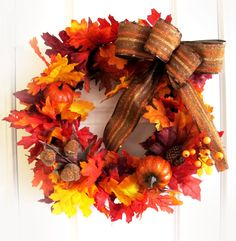Orange Fall Wreath For Door Thanksgiving Wreath by WoodAndBurlap, $61.00