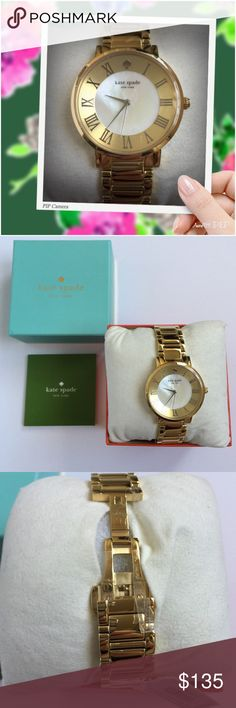 KATE SPADE NY Gramercy Gold Tone Watch 1YRU0472 As lovely as a walk in the park, this classic timepiece was inspired by Manhattan's Gramercy Park. It's design lends itself to office attire & cocktail dressing alike. Features a gold tone steel case and bracelet with a gold & mother of pearl dial. Case back: Stainless steel, Bezel:Yellow gold tone stainless steel;Markers:Silver tone Roman numerals;Bracelet:Yellow gold tone stainless steel;Clasp:Pin buckle;Crown:Push/pull Movement: Japanese…