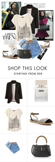 """""""The Greene Effect"""" by shehasnoworries ❤ liked on Polyvore featuring DKNY, Bella Freud, Banana Republic, Ivanka Trump, Levi's, Gucci and Christian Dior"""