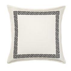 Greek Key Cotton Canvas Throw Pillow