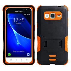 Samsung Galaxy J7 (2015) Impact Silicone Case Dual Layer with Stand Black Orange