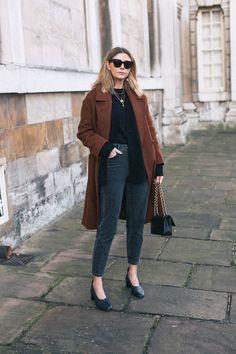 ad6a4fe66e Emma Hill wears brown wool coat