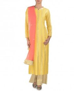 Sunglow Yellow Suit with Gota Patti Work Yellow Suit, Ethnic, Duster Coat, Cold Shoulder Dress, Indian, Suits, Luxury, Jackets, Dresses