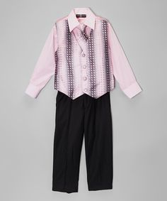 Look at this Pink Jacquard Four-Piece Vest Set - Toddler