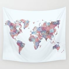 Pink world map painting map art print room decor typographic print buy wanderlust wall tapestry by laura oconnor worldwide shipping available at society6 gumiabroncs Images