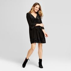 Women's Burnout Velvet Peasant Dress - Knox Rose Black Xxl
