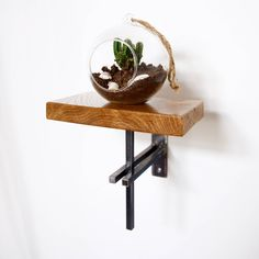Small Oak Shelf with Steel Bracket - Plant Stand/Phone Holder - Modern Industrial Chic, Handmade by escafell on Etsy https://www.etsy.com/uk/listing/526743863/small-oak-shelf-with-steel-bracket-plant
