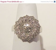 SALE Art Nouveau Genuine Diamond Cluster Ring in 925 Sterling - Flower Motif - Size 7.25 US by Gementia13Jewels