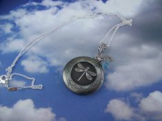 Dragonfly Locket with Czech flower and Silver by CreatedinTheWoods, $21.95