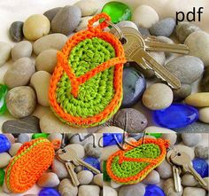 FREE CROCHET PATTERN! Key chain flip-flop - No sewing - Very easy and fast to make. In about 20 min. Great and cool gift. Pattern No. 103