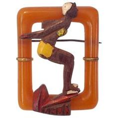 "1940's Art Deco Bakelite ""Diver Girl"" Butterscotch and Wooden Brooch"