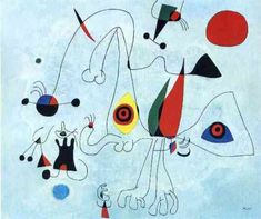 This is one of the Surrealist works of Joan Miró.  Miro is a native Catalan artist who invented a new kind of pictorial space that used objects from his imagination and are juxtaposed with basic, recognizable forms. He also used bold and expressive colors, like other Surrealist artists.