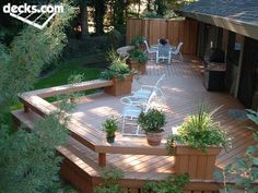 I LOVE that this deck has a bench railing, rather than a hand rail. Much more practical for guests and parties. Outdoor Rooms, Outdoor Gardens, Outdoor Living, Deck Pictures, Decks And Porches, Building A Deck, Deck Design, Railing Design, Backyard Landscaping