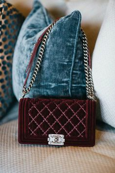 Chanel maroon bit bag with silver hardware