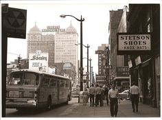 Downtown Buffalo, NY, 1960s. I REMEMBER RIDING THAT STYLE BUS BACK IN THE DAY.