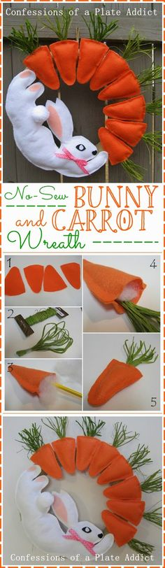 CONFESSIONS OF A PLATE ADDICT: Fun No-Sew Bunny and Carrot Wreath
