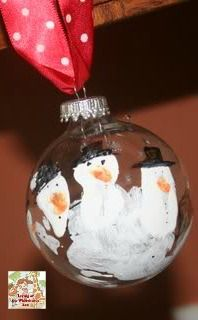 Snowman handprint ornaments #kids #craft