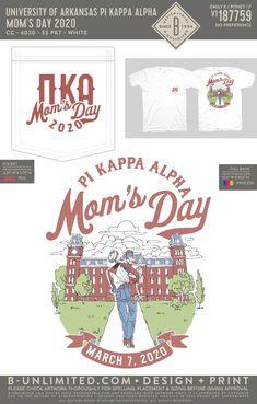 Pi Kappa Alpha Mom's Day Shirt   Fraternity Event   Greek Event #pikappaalpha #pike #pka Pi Kappa Alpha, University Of Arkansas, Dad Day, Fraternity, Greek, Dads, Mom, Shirt, House
