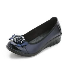 Black Blue Flower Beaded Bowknot Flat Soft Sole Shoes