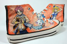 Custom Painted Fairy Tail Themed Inspired Converse Anime