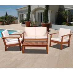 Amazonia Pacific 4 Piece Patio Conversation Set (Off-White (Beige)), Size 4-Piece Sets, Patio Furniture (100% FSC)
