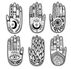 Find Palmistry Hand Set Black White Drawing stock images in HD and millions of other royalty-free stock photos, illustrations and vectors in the Shutterstock collection. Tatouage Main Hamsa, Hamsa Art, Hamsa Hand Tattoo, Stickers Cool, Witch Drawing, Pottery Studio, Pottery Clay, Slab Pottery, Thrown Pottery