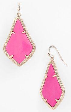 magenta gold earrings