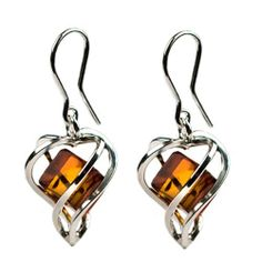 Millennium Collection Certified Genuine Honey Amber and Sterling Silver Heart Cubics Drop Earrings Ian and Valeri Co.. $80.00. Amber is a versatile organic gemstone. Because it comes in an assortment of colors it is suitable for any women to wear beautifully.. 60 million years old honey amber is the fossilized resin from ancient forests.. Amber is the lightest and warmest of all gemstones making it a true comfort to wear.. Save 36%!