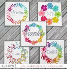 handmade greeting cards: Wreath Builder Stencil Cards by Heather Ruwe Card Making Inspiration, Making Ideas, Cute Cards, Diy Cards, Druckfarben Im Distress-look, Wondrous Wreath, Karten Diy, Rainbow Card, Stampin Up