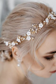 Floral headband for bride Wedding Gold headband Pearl bridal hairband Full circlet gold Bridal hair vine Bridal halo Pearl hairpiece - Margo Wedding Headband, Bridal Comb, Bridal Hair Vine, Bridal Headpieces, Wedding Veils, Bridesmaid Headpiece, Bridal Headbands, Wedding Garters, Headpieces For Brides