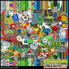 Kick'n It Soccer Style by Clever Monkey Graphics - Digital scrapbooking kits available through Oscraps, GingerScraps, or MyMemories