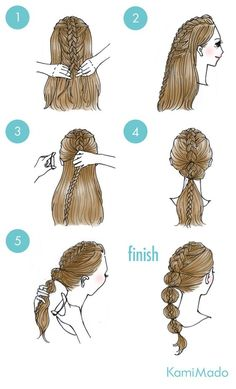 These cute hairstyles are so simple to do and can be done in just minutes! Not everyone has a lot of time these days. So easy hairstyles are the way forward. Sweet Hairstyles, Cute Simple Hairstyles, Trendy Hairstyles, Braided Hairstyles, Drawn Hairstyles, Teenage Hairstyles, Beautiful Hairstyles, Hair Arrange, Hair Looks