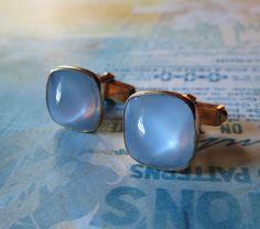 Vintage Swank Ice Blue Moonglow Cufflinks Gold by MiladyLinden