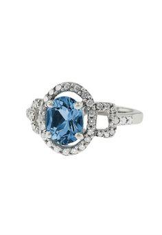 Effy Jewelry 14K White Gold Blue Topaz and Diamond Ring, 2.46 TCW